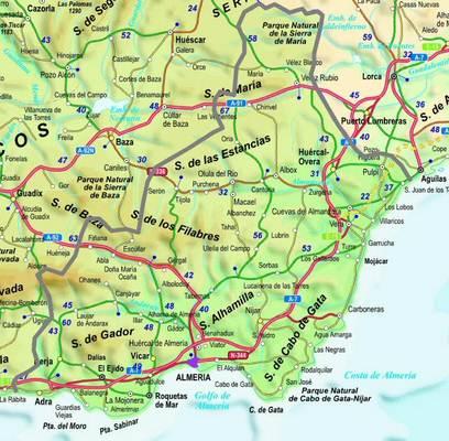 Mapa De Almería Andalucía España