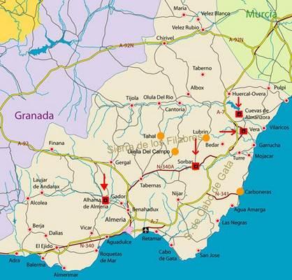 Mapa De Almeria Andalucia Espana