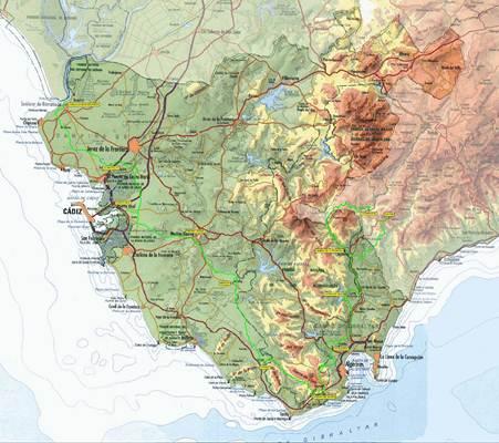 Mapa de Cdiz  Andaluca  Espaa