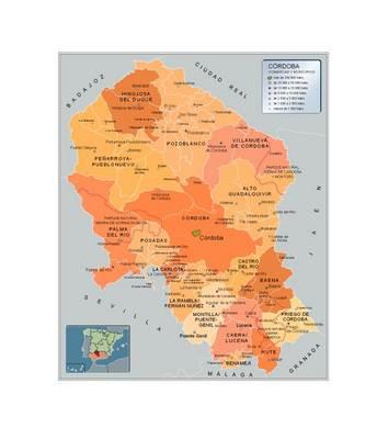 Mapa Pueblos De Cordoba.Mapa De Cordoba Andalucia Espana