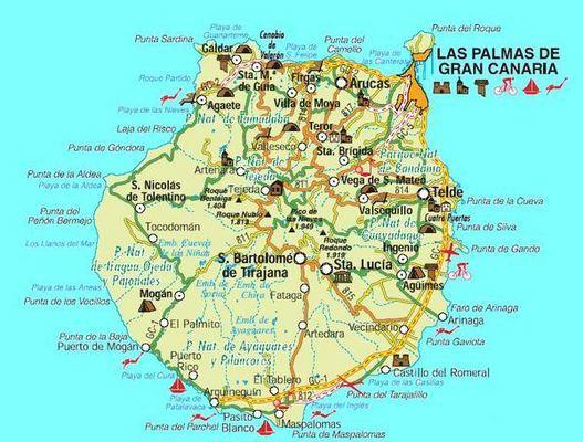 Mapa De Gran Canaria Canarias Espana