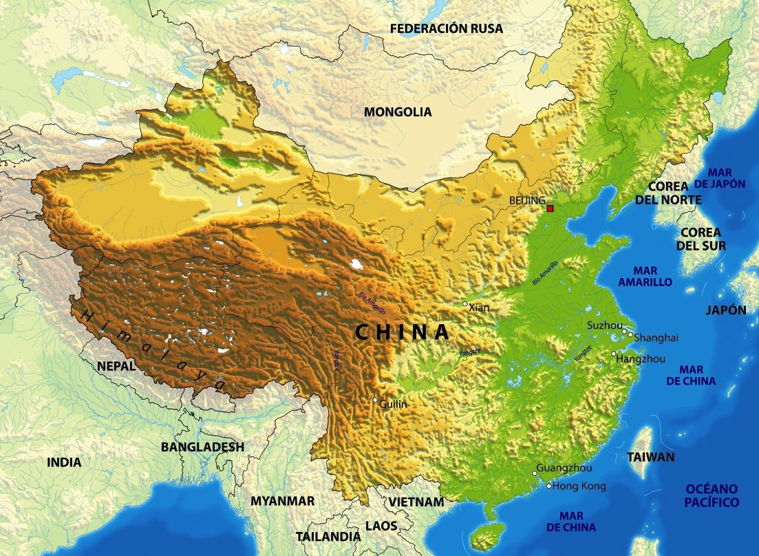 Mapa Fisico De China.Mapa De China Descarga Los Mapas De China