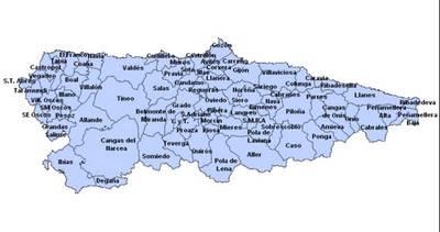 Mapa De Asturias Fisico.Mapa De Asturias Espana