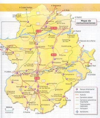 Mapa De Extremadura Espana