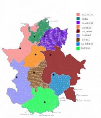 extremadura mapa politico: