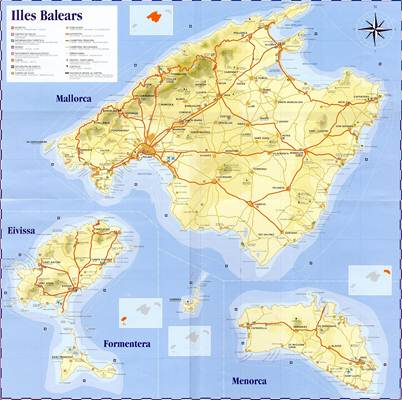 Islas Baleares Mapa Fisico.Mapa De Islas Baleares Espana