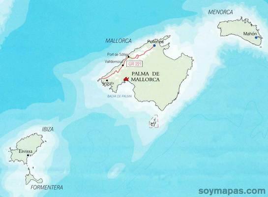 Mapa De Islas Baleares Espana